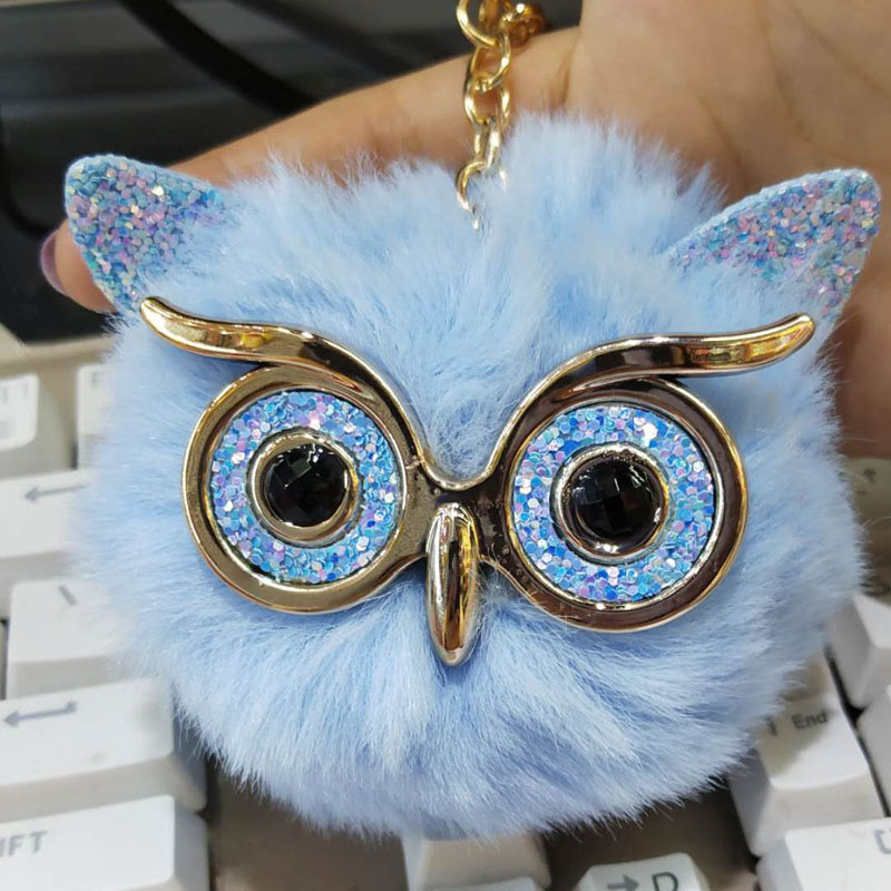 Cute Fashion Women Bag Pendant Handicraft Gold Dust Owl Fur Cony New Hair Ball Pom Pom Charm Handle Ornament Strap Accessories