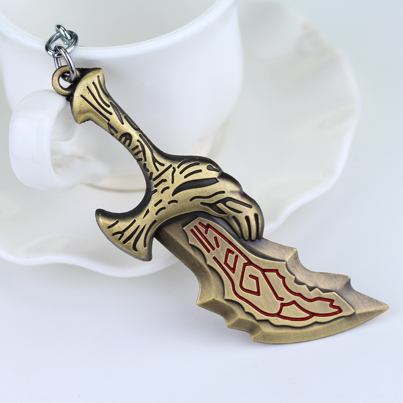 HOT Game God of War Series Keychains Sword OLYMPUS KRATOS Pendant Key Chain man women jewelry