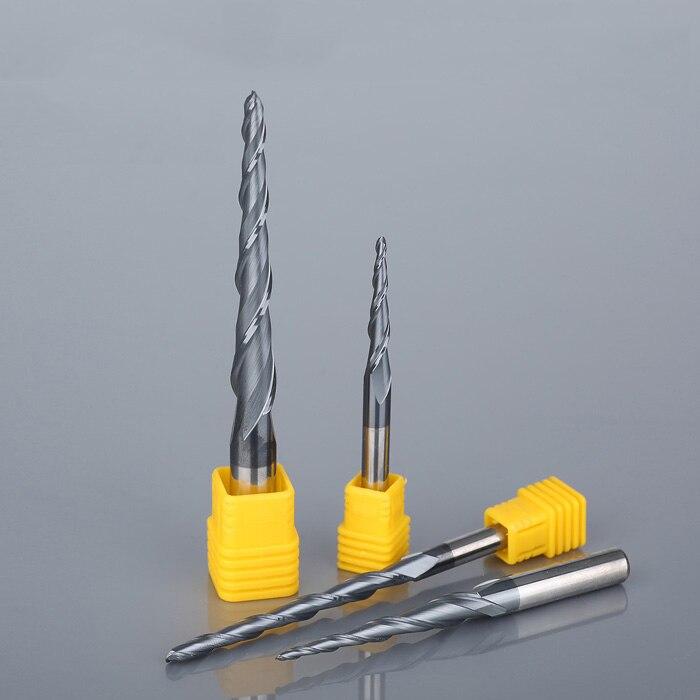 1 stück HRC55 Konischen Kugelfräser wolfram hartmetall Beschichtete Kegel kegel cnc fräser D3.175-D12mm gravur bit