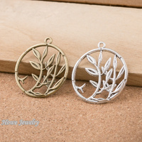 40pcs Vintage Charms round tree Pendant Fit Bracelets Necklace DIY Metal Jewelry Making D025