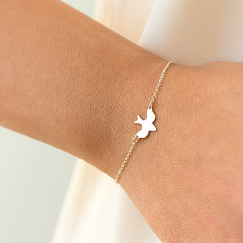 Tiny Peace Dove Bracelet Soar Flying Birds Bracelet Little Cute Swallow Baby Bird Bracelets Abstract Bracelets SH005