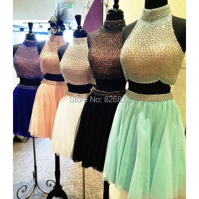 d4f03c50aad0 Mint Green Black White Cocktail Dress High Neck Two Piece Short Homecoming  Prom Gowns With Luxuriant Beaded Pearls-in Cocktail Dresses from Weddings  ...