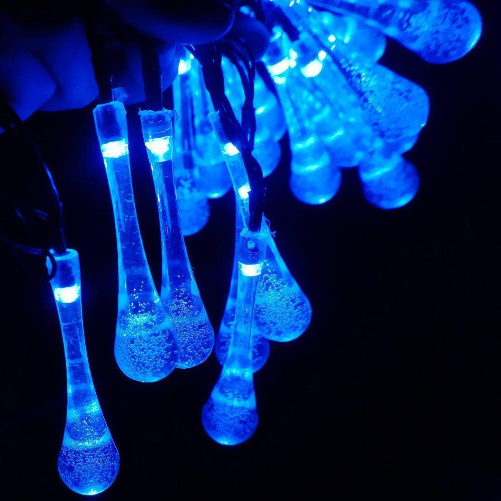 Solar Powered Led Outdoor String Lights Gdealer 6M 30 LED Water Drop Fairy  Strip Lights For