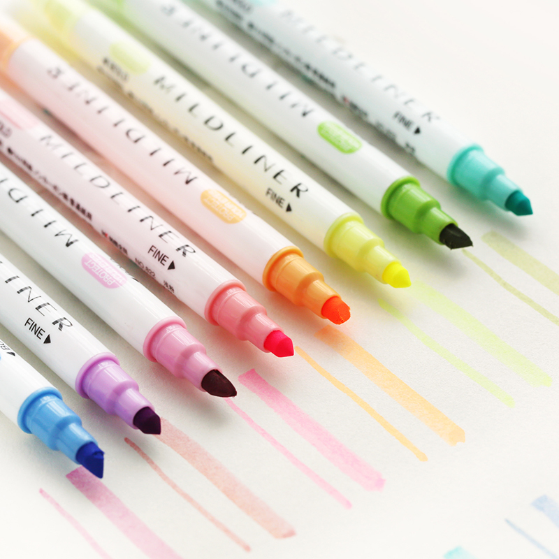 12 Colors/set Japanese Kawaii Mildliner Pens Mild liner Highligher Dual Headed Fluorescent Pen Art Drawing Pen Stationery  12 Colors/set Japanese Kawaii Mildliner Pens Mild liner Highligher Dual Headed Fluorescent Pen Art Drawing Pen Stationery