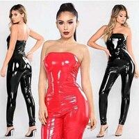 Sexy Bodycon PU Skórzany Kombinezon 2018 New Arrival Moda Kobiet Black Red Bez Ramiączek Skinny Babski wieczór Party Kombinezony Hurtowa