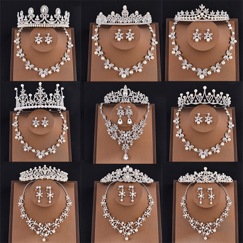 Bridal Jewelry Sets Pearl Tiaras and Crowns Necklace and Earrings Set Head Wedding Jewelry King Queen Princess Crown Women Party