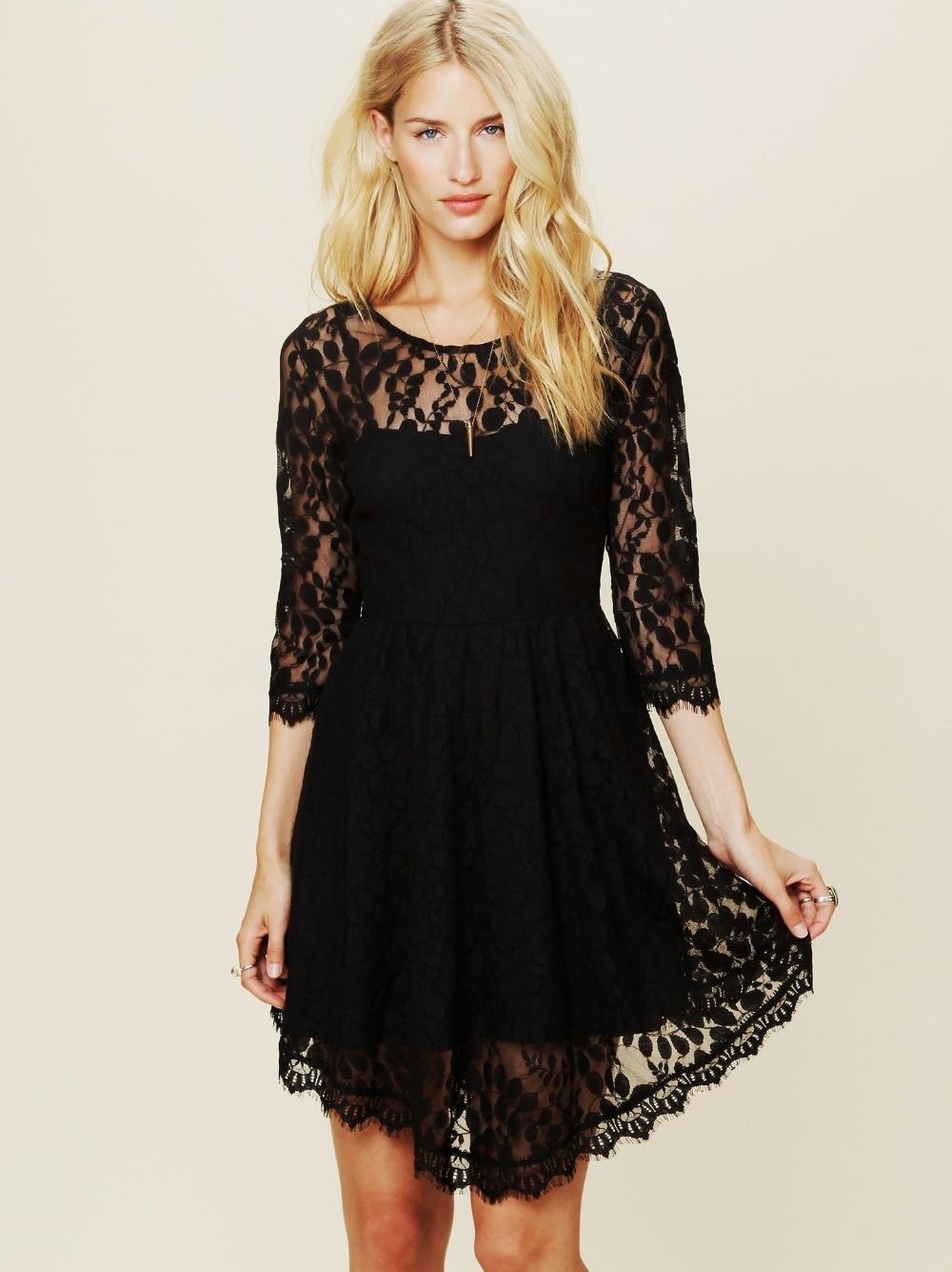 Mori girls vintage hippie blue black half sleeve asymmetrical lace dress brand design bohemian cutout dresses blouse vestidos
