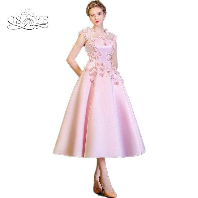 QSYYE 2017 New Arrival Pink A line 3D Handmade Flowers Tea Length ...