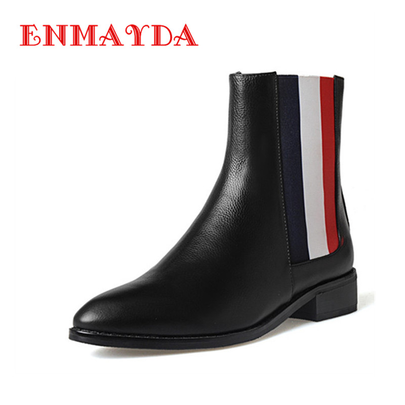 ФОТО ENMAYDA Spring&Autumn Fashion Shoes Ankle Boots for Women Platform Shoes Square Heels Slip On Round Toe  Large Size 34-42