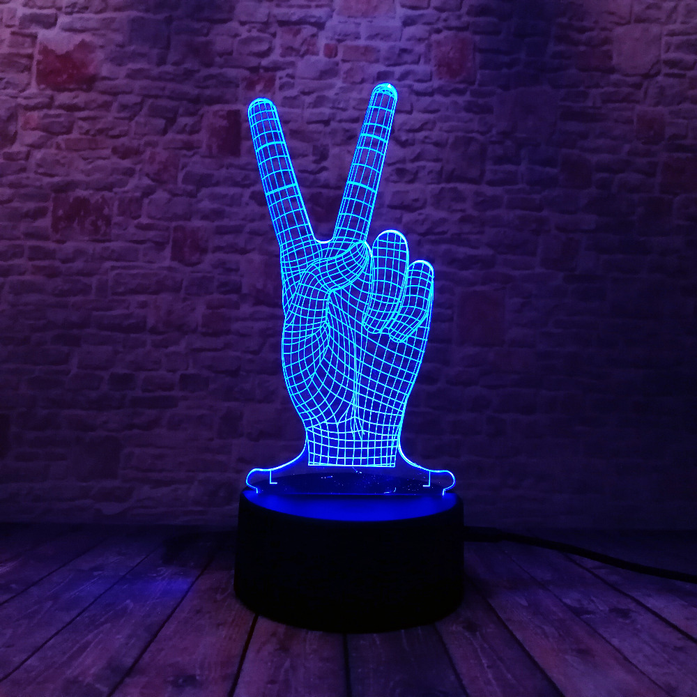 Novelty Hot Glowing The Victory 3D YES Gesture 7 Color Gradient LED - Night Lights - Photo 5