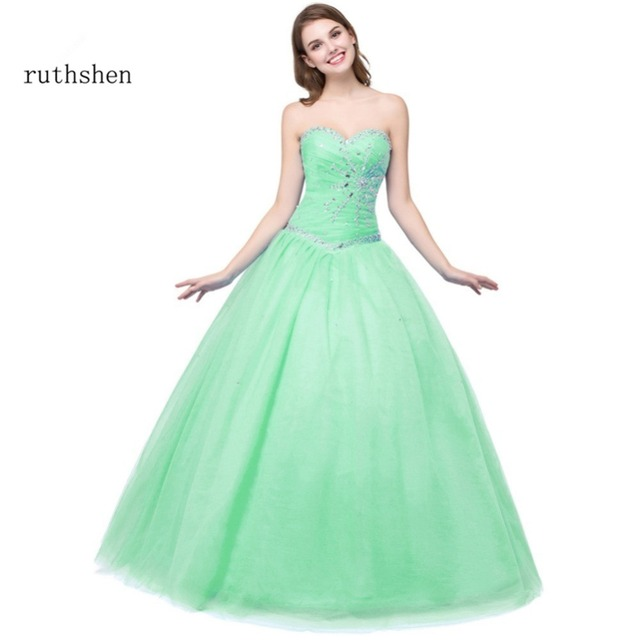 ruthshen Mint Green   Light Blue Cheap Quinceanera Gowns In Stock Beaded  Ruched Vestido Debutante 15 102df6df3838