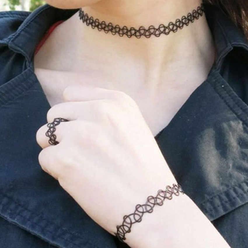 9ชิ้นสร้อยคอสร้อยคอชุดยืดกำมะหยี่คลาสสิกแบบกอธิคลูกไม้สักเค้นคอสร้อยคอแหวนสร้อยข้อมือชุด