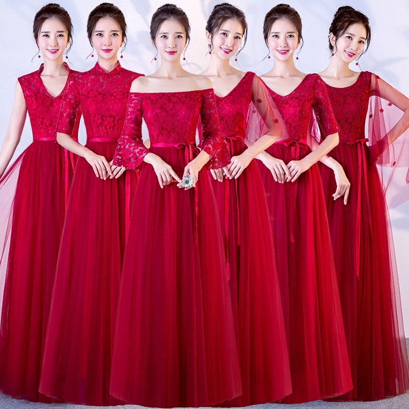 Beauty-Emily Red Long Lace Bridesmaid Dresses 2019 Plus Size for Women A-Line Half Sleeve Vestido da dama de honra