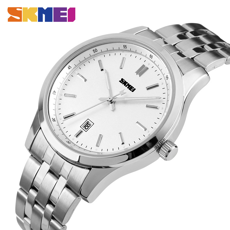 SKMEI Hot Brand Mens Quartz Watches Luxury Men Fashion Sport Watch Stainless Steel Waterproof Calendar Clock Man Wristwatches блендер погружной philips hr1605 00