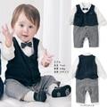 2016 Новый галстук-бабочку baby rompers младенческой плед короткий рукав джентльмен комбинезон мальчик одежда дети костюм roupas bebes