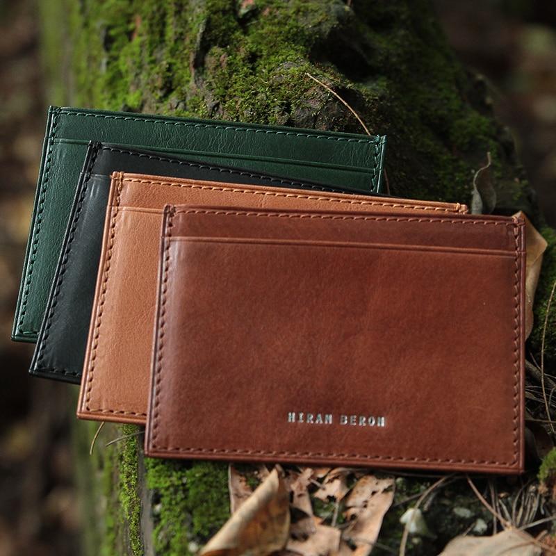 Hiram Beron Hombres Portatarjetas de cuero Bloqueo RFID Mini Monedero Vegetal Curtido de cuero Titular de la identificación Monedero personalizado de cuero genuino