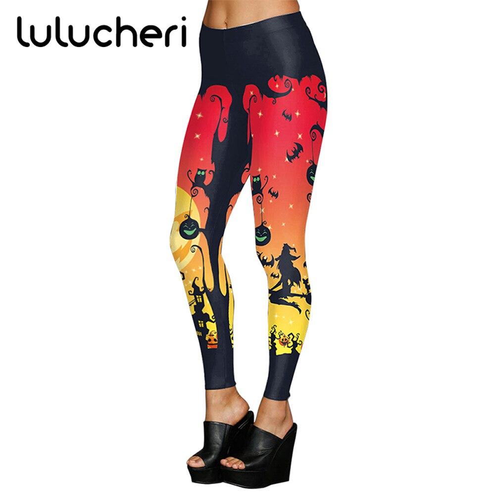 2018 New Fashion Halloween Pumpkin Print Women Leggings Elastic Breathable Slim Leggins Plus Size Ankle Length Fitness Legging