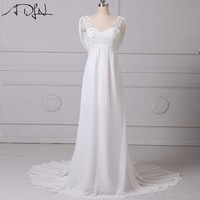 New 2016 Arrival Dress Elegant Applique Wedding Dresses Chiffon Vestidos De Novia Beach Bridal Gowns