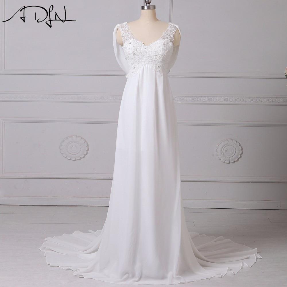 ADLN 2019 Cheap Chiffon Wedding Dresses Real Photo V-neck Sleeveless Beach Bohemian Bridal Gowns Garden vestidos de novia