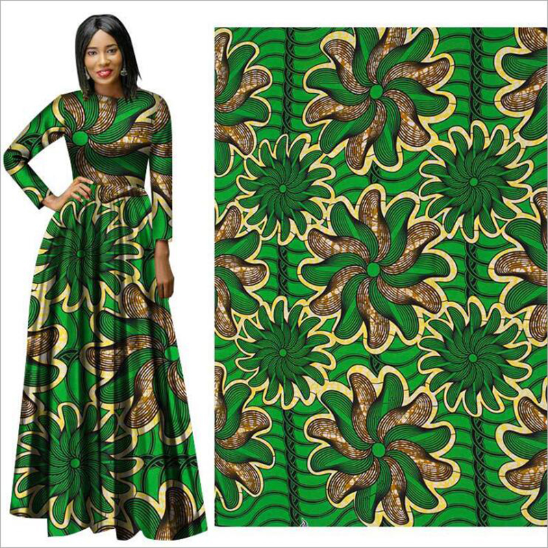 Me-dusa 2019 new green flower African Print Wax Fabric 100% cotton Hollandais Wax Dress Suit cloth 6yards/pcs High quility(China)