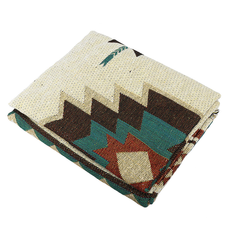 Ethnic Aztec Blanket Indian Navajo Wall Hanging Cotton Throw Bedcover Picnic Rug Portable Car Travel Cover Blanket Use Office