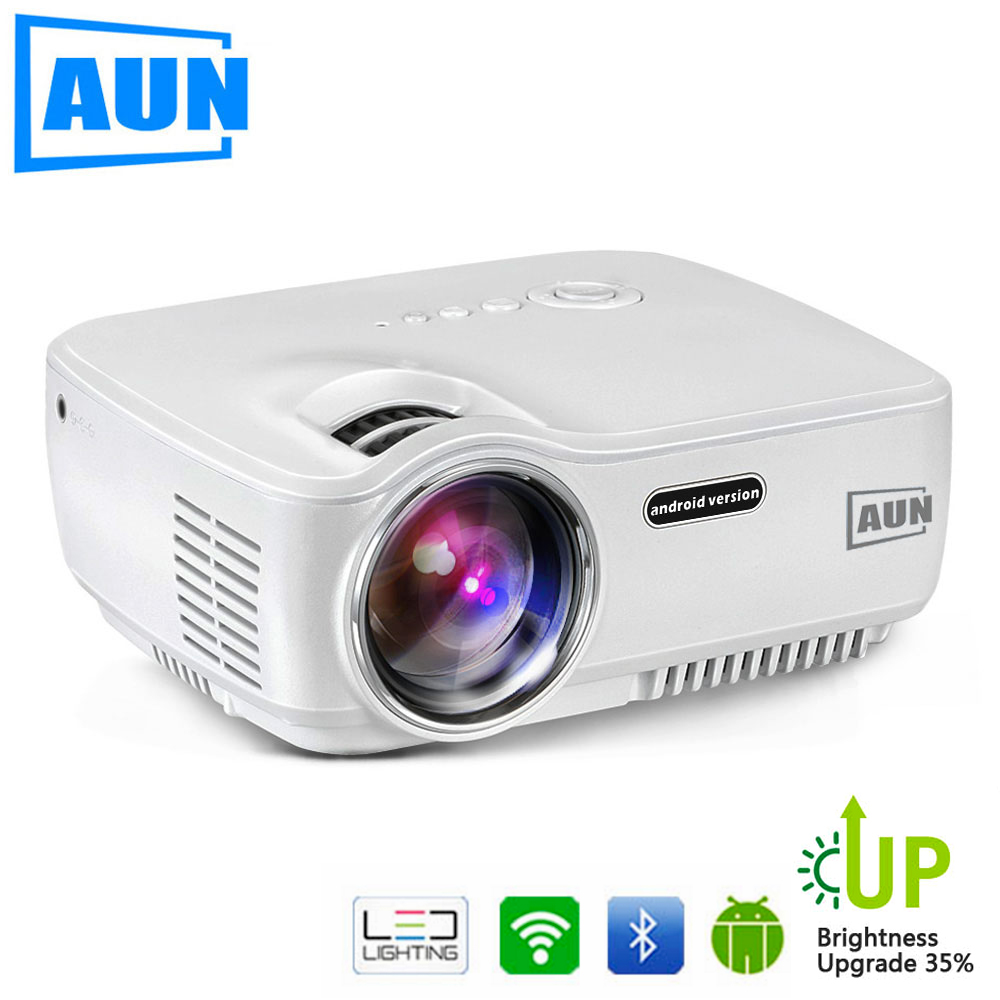 AUN AM01S 1800 Lumen HA CONDOTTO Il Proiettore Del Proiettore Aggiornato Set in Android 4.4 WIFI Bluetooth Supporto Miracast Airplay KODI AC3 1080 P