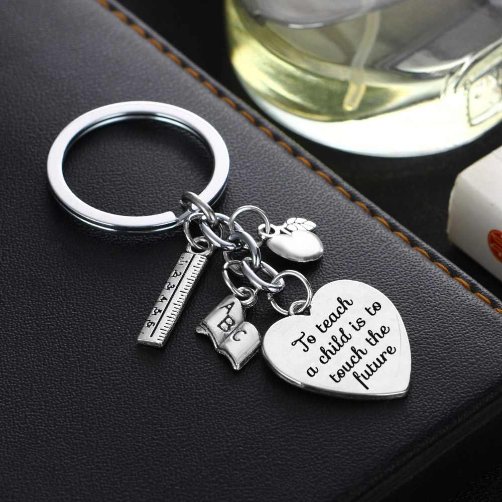 12 Pc/Lot Heart Charm Thank You For Making A Difference In My Life Teachers  Keychain Key Ring Mom Dad Teacher's Day Gift Key Fob