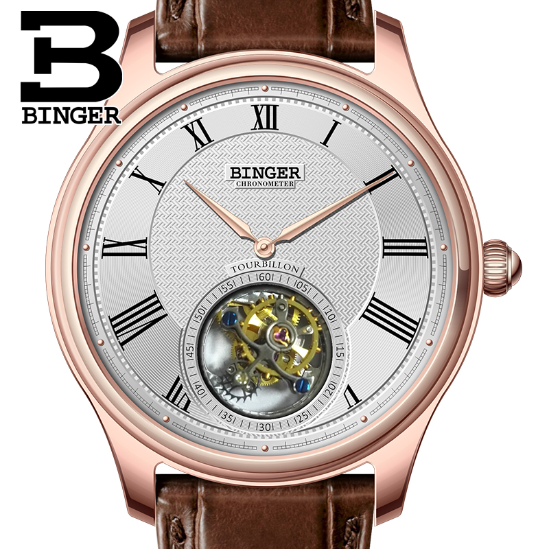 Luxury Switzerland BINGER Watches Men Seagull Automatic Movemt Watch Male Tourbillon Sapphire Alligator Hide Mechanical 80803-3 scorpion pattern detachable protective wood back case for iphone 5 5s wood