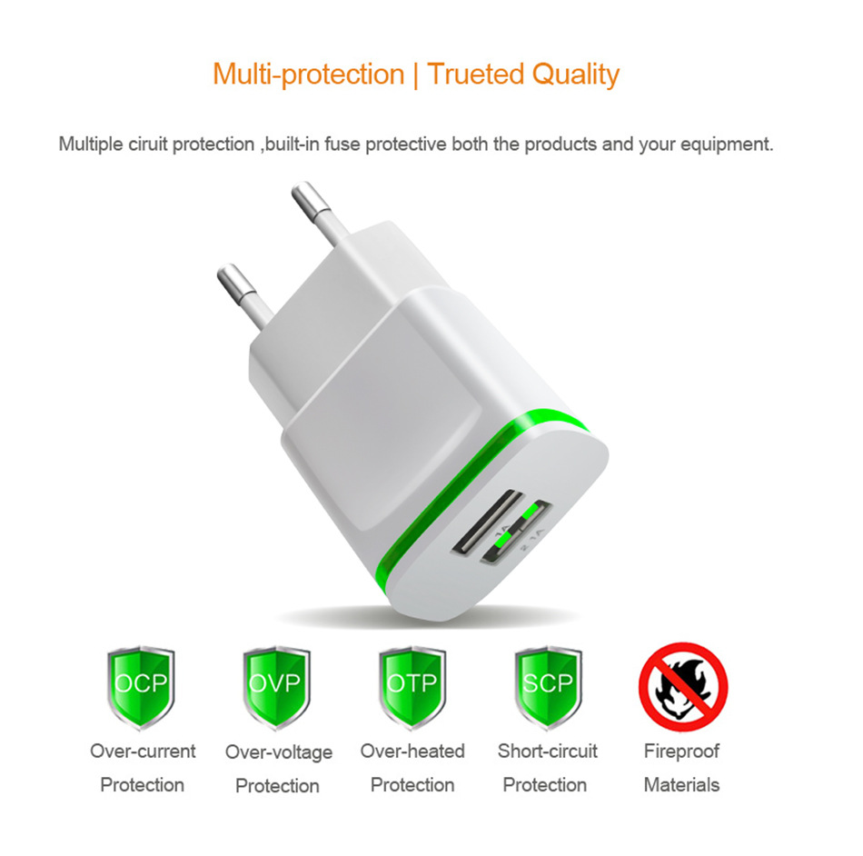 5V 2.1A Travel USB Charger Adapter EU Plug Mobile Phone for Philips i999 ex i966 for PPTV V1 M1 King 7 7S +Free usb type C cable