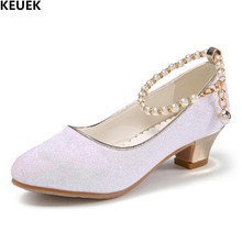 New Girls Leather Shoes Children Princess High-heeled shoes Student Wedding Dance Party Kids Glitter Crystal Shoes 018 босоножки no pink crystal high heeled princess shoes