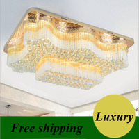 Rectangle gold crystal lamp modern minimalist led ceiling lamp living room lamp Golden Wave Shaped K9 Crystal LED Lamp