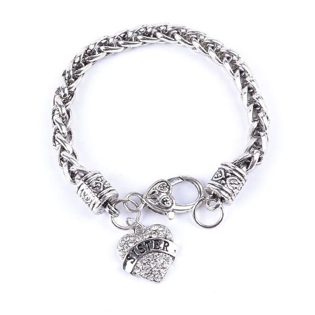 Hot vente 1 pcs couleur argent vintage strass amour coeur bracelet sœur  love forever cadeau bracelet