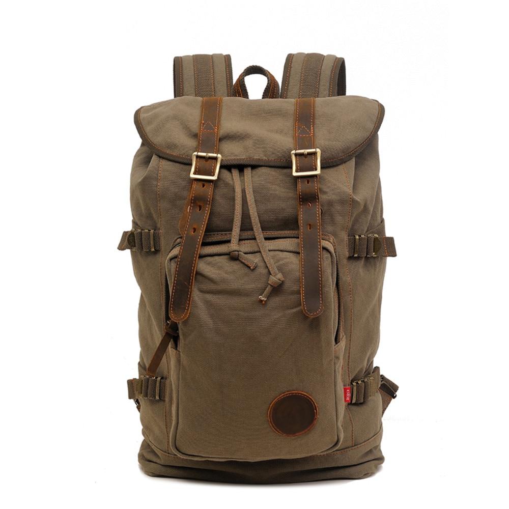 Backpack Vintage Canvas Morrales Military Style School Backpack Man Rucksack Mountaineering Rugzakken Male Travel Bag