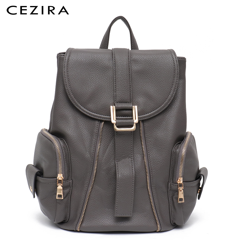 CEZIRA Brand New Vegan Leather Backpack Girl School Knapsack Side Pocket Female Flap Belt Large Daily