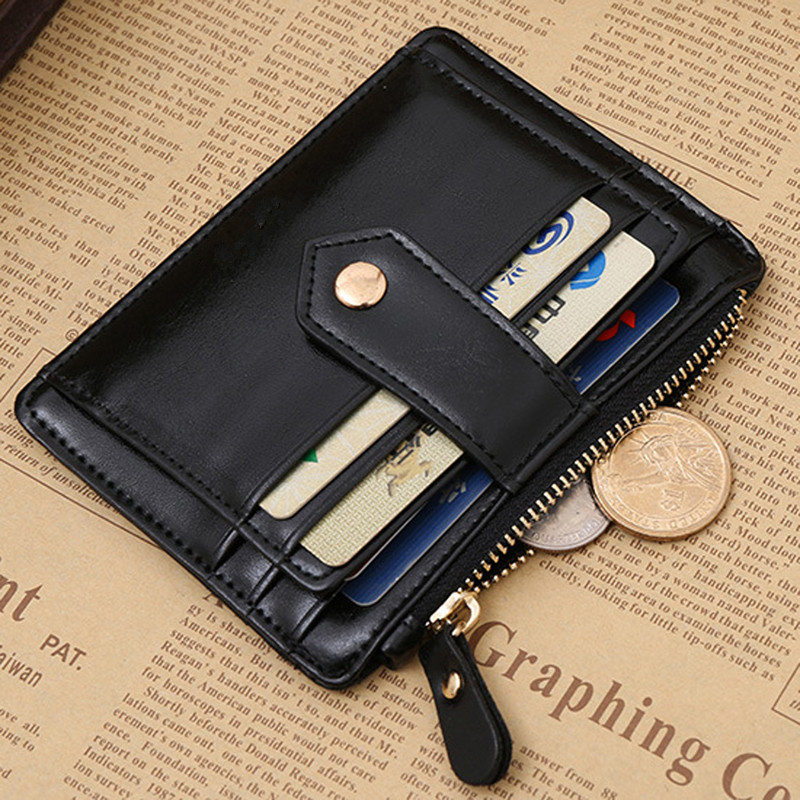 Black Red Color Men Women Wallet Money Clip Credit Card Money Holder Business Faux Leather Stylish Simple Fashionable Purse