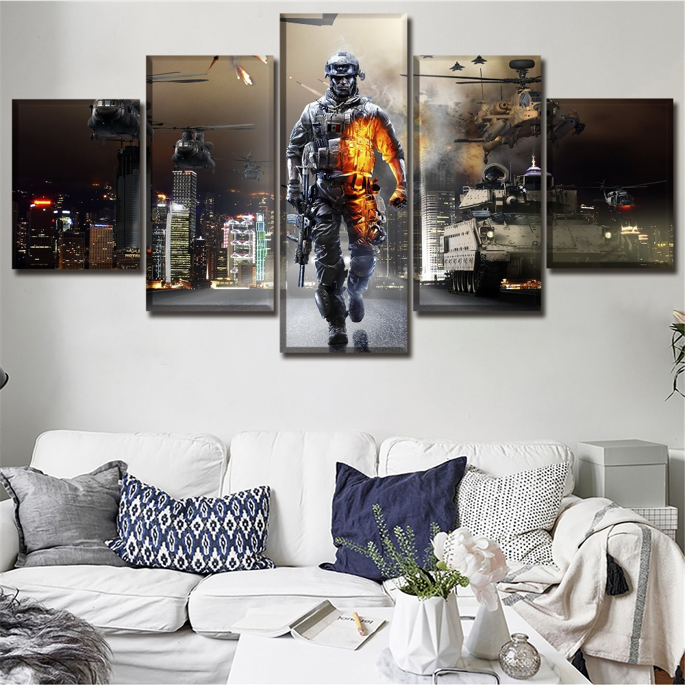 Canvas Print Paintings 5 Piece Game Battlefield 3 City Landscape And Plane Pictures Home Decor Framework Wall Art Modular Poster