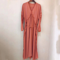 Women'S Mid Calf Long Dress Office High Quality 100% Silk Dress Spring Lady Fashion Turtleneck Party Dresses For Women