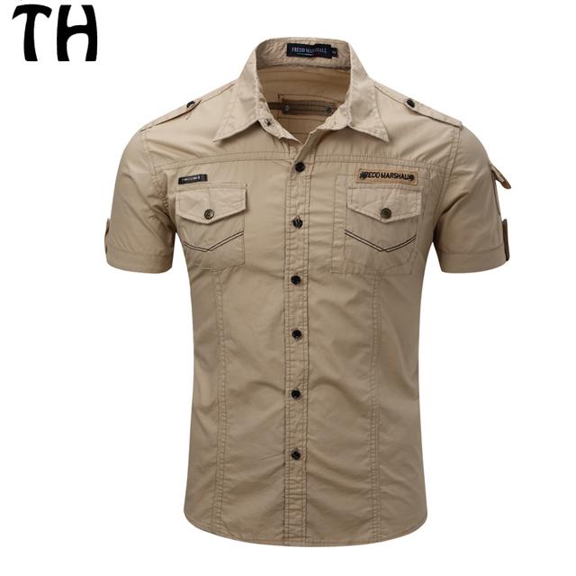 2016 Plus Size XXXL Camisa Bolsos de Carga Militar Do Exército Dos Homens de Manga Curta Slim Fit Camisas Casual Camisa Masculina #161314