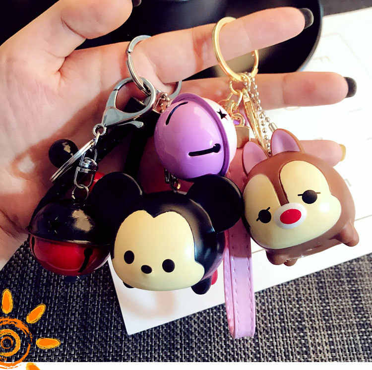 Bonito Mickey Minnie Mouse corda do Sino de Couro Chaveiro Carro Chaveiro Pingente Chaveiro Kiki Mulheres Saco menina Charme Clef Porte bugigangas