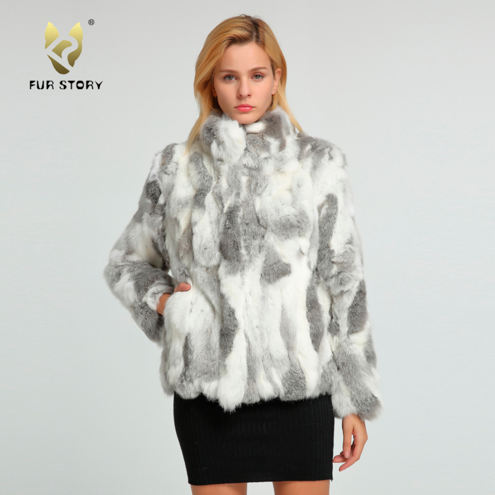 Fur Story 151249 New Arrival 2017 Women s Natural Rabbit Fur Coat Winter Real Fur Jacket
