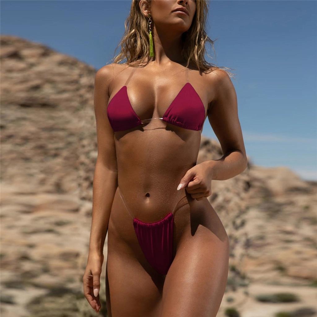 2021 neue Sexy Tanga Bikini Transparent Strapes Frauen Bikini Set Bademode Frauen Bademode Badeanzug Heißer Schwimmen Biquini #40