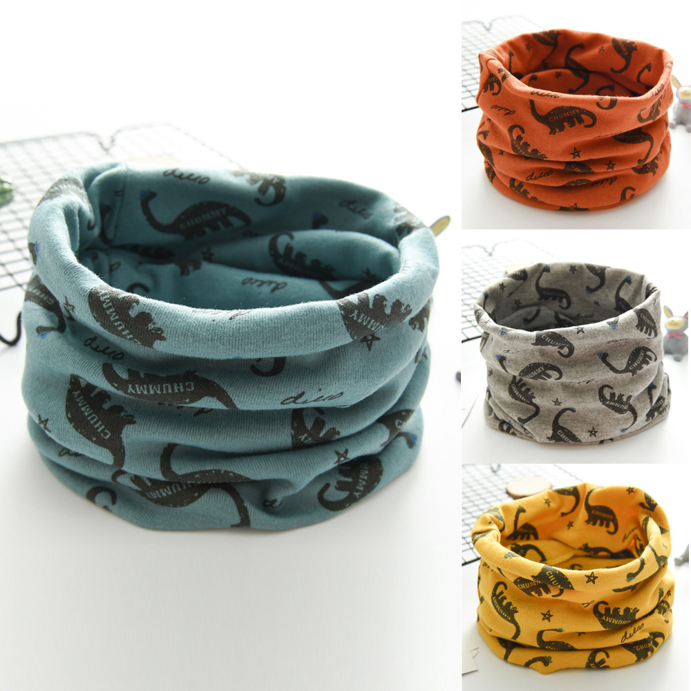 Children LIC New Autumn Winter Boys Girls Baby Dinosaur Scarf Cotton O Ring Neck Scarves Winter Scarf Baby Wool Ring