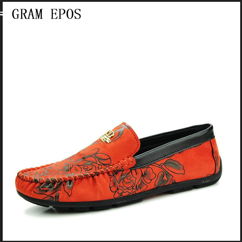 GRAM EPOS Flower Print Male Slip On Shoes Suede Leather loafers light Soft Comfortable Driving Men Flats Luxury Zapatos Hombre fashion nature leather men casual shoes light breathable flats shoes slip on walking driving loafers zapatos hombre