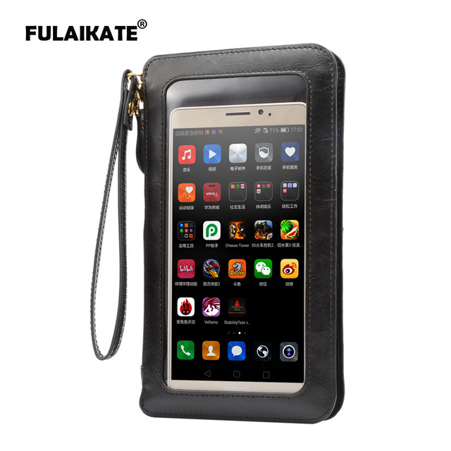 """FULAIKATE 6.3"""" Crazy Horse Wallet Universal Bag for iPhone 6s Plus Lanyard Holster Touch Screen Case for Samsung Galaxy Note4"""