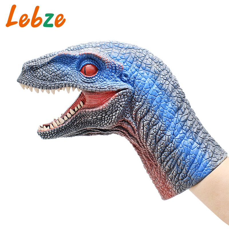 Velociraptor Dinosaur Hand Puppet For Stories Non-toxic Rubber Realistic Dino Toy For Collection Jurassic World Dinosaur Model