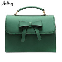 Aelicy Luxury High Quality Pu Leather Women Bag Bowknot Pure Color Messenger Bags New Design Woman