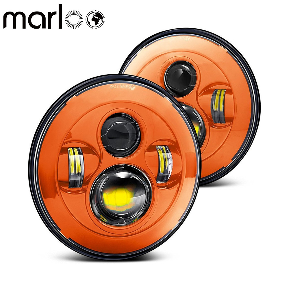 Marloo Red Blue Orange 7 LED H4 Headlight Daymaker Headlamp For Jeep Wrangler Lada 4x4 urban Niva Land Rover 90/110 Defender 75w 5d 7 inch round led projector daymaker headlight for jeep wrangler jk land rover defender 90