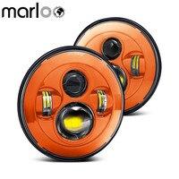 Marloo Red Blue Orange 7 LED H4 Headlight Headlamp For Jeep Wrangler Lada 4x4 urban Niva Land Rover 90/110 Defender