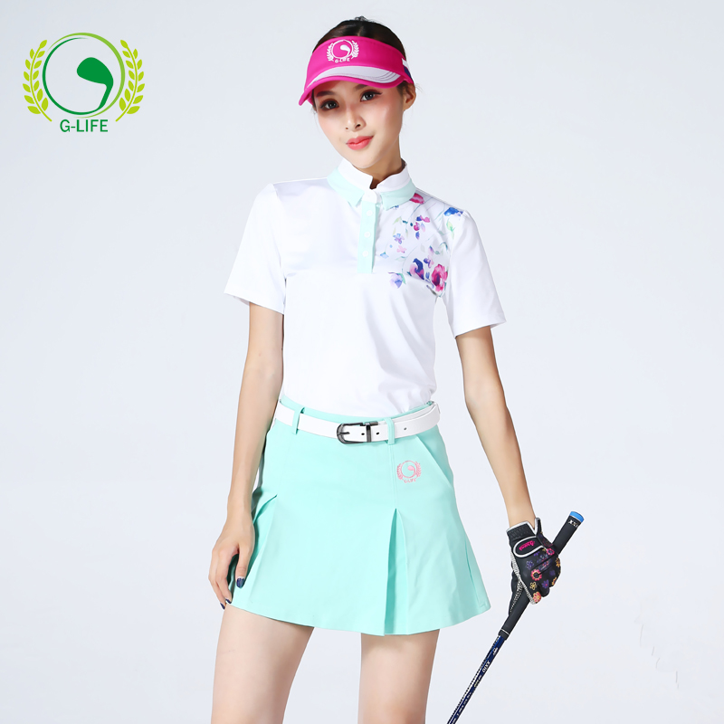 G-life golf shirt lady sports apparel for girl clothing quick-dry short-sleeve T-shirt slim female short top shirt branded polo golf sports men shirts summer thin short sleeve splice breathble quick dry golf t shirt for men gray blue pink xl