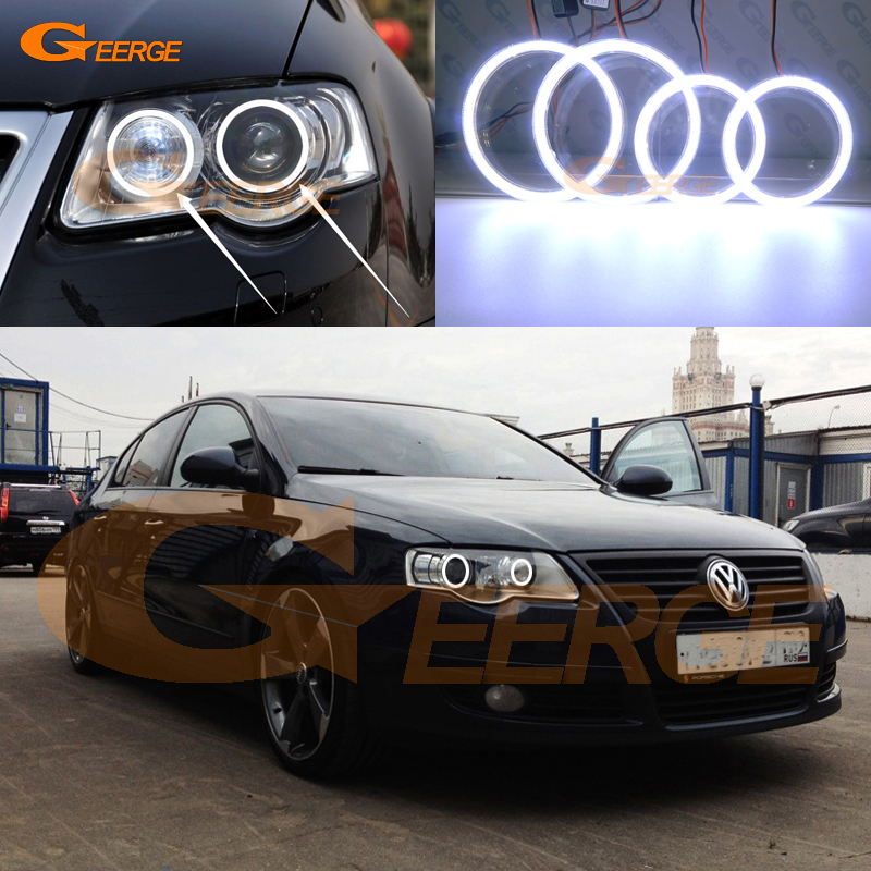 For Volkswagen VW Passat B6 Magotan 2006-2010 Xenon Headlight Excellent Ultra bright illumination COB led angel eyes kit volkswagen passat б у дешево